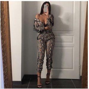 87d5305e1e16 Kalli Collection Pants - ⚡️Snakeskin Nude Track Suit